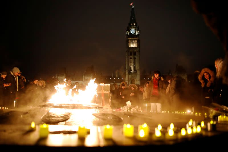 Hundreds attended a candle light vigil for the victims of Ukraine International Airlines flight PS-752 on Parliament Hill in Ottawa