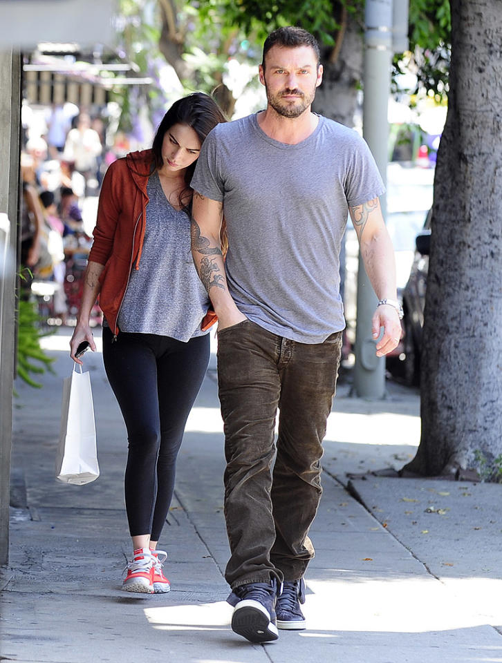 """Megan Fox is """"terrified"""" that Brian Austin Green's reckless driving will harm her and their unborn baby, reports the National Enquirer. The mag says the pregnant actress is completely """"fed up"""" with Green's """"need for speed."""" For the shocking ultimatum she's given Green if he doesn't """"slow down ASAP,"""" see what a Fox insider leaks to <a target=""""_blank"""" href=""""http://www.gossipcop.com/megan-fox-bans-brian-austin-green-speeding-reckless-driving-car-baby-pregnant/"""">Gossip Cop</a>."""