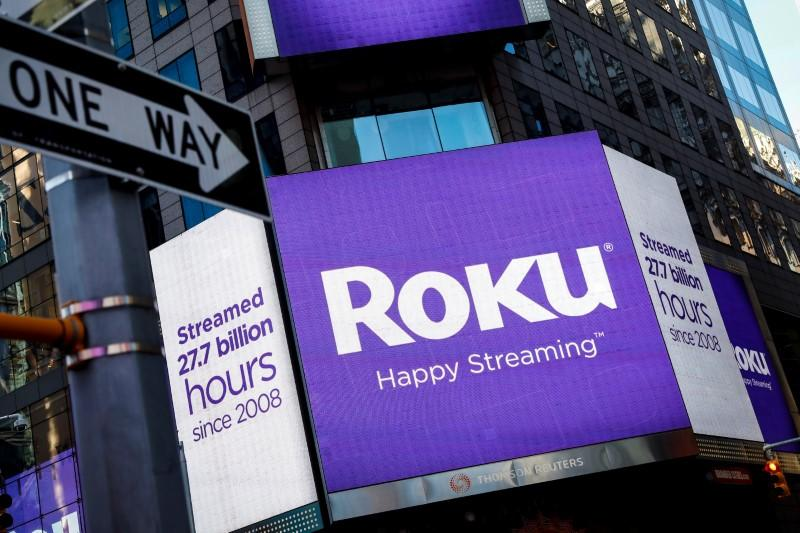 A video sign displays the logo for Roku Inc, a Fox-backed video streaming firm, in Times Square after the company's IPO at the Nasdaq Market in New York