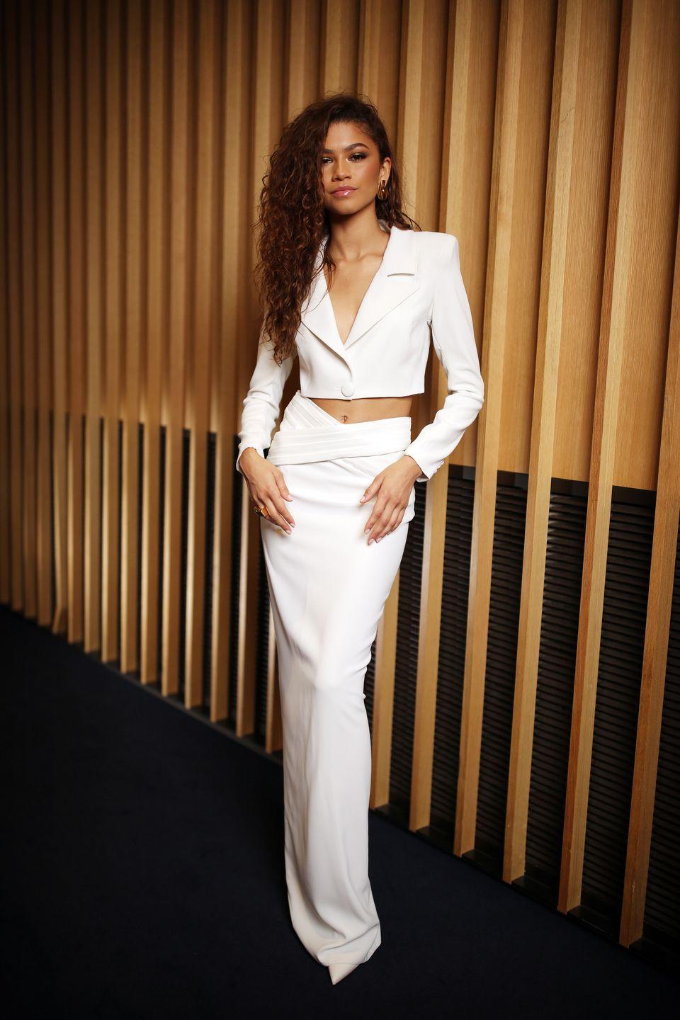 <p>For the GQ Men of The Year Awards, Zendaya wore Mônot, Vhernier jewelry, and Louboutin heels.</p>