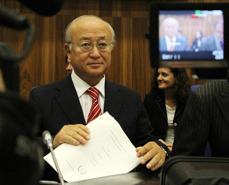 Director General of the International Atomic Energy Agency, IAEA, Yukiya Amano from Japan waits for the start of the IAEA board of governors meeting at the International Center, in Vienna, Austria, Monday, Sept. 10, 2012. (AP Photo/Ronald Zak)
