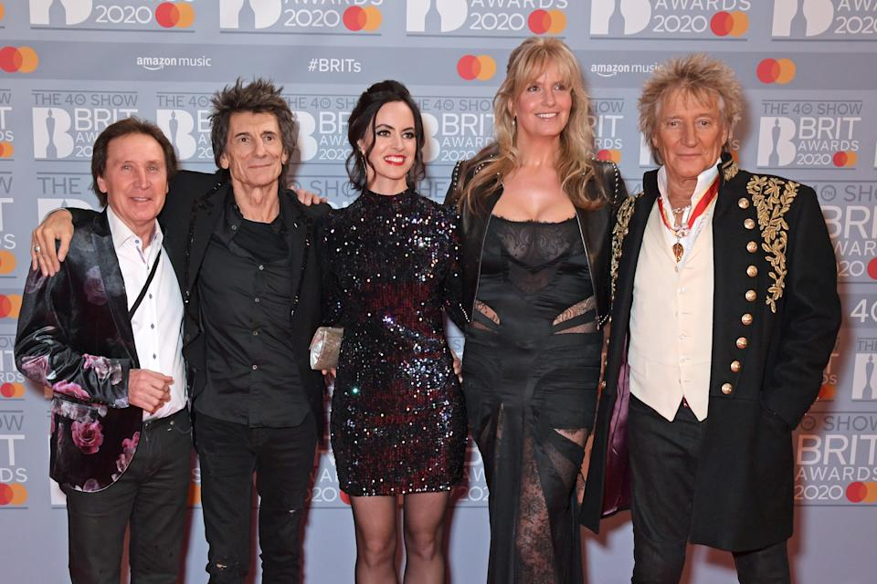 LONDON, ENGLAND - FEBRUARY 18: (EDITORIAL USE ONLY) (L to R) Kenney Jones, Ronnie Wood, Sally Wood, Penny Lancaster and Sir Rod Stewart attend The BRIT Awards 2020 at The O2 Arena on February 18, 2020 in London, England.  (Photo by David M. Benett/Dave Benett/Getty Images)