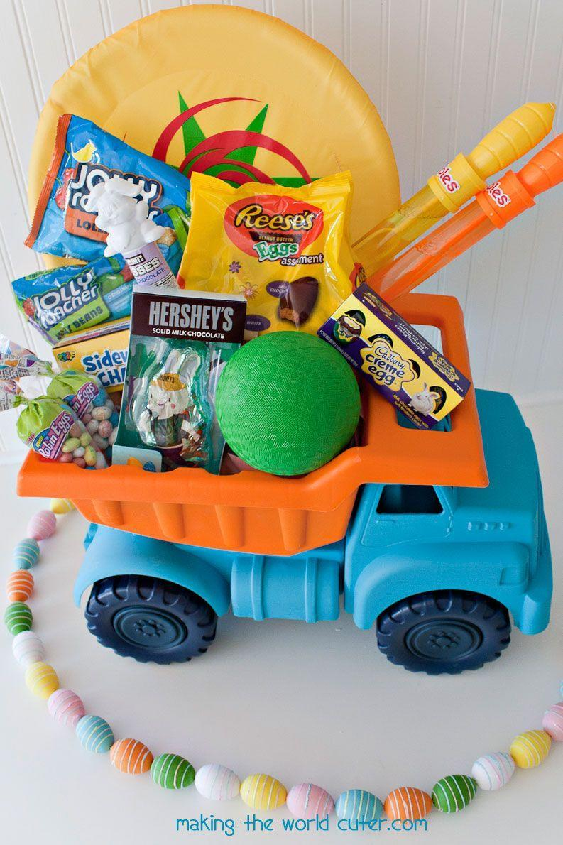 "<p>For an extra-special treat, buy a fun toy that can double as a basket for even more toys, plus a few edible goodies. </p><p>Get the tutorial at <a href=""https://makingtheworldcuter.com/easter-baskets-for-boys/"" rel=""nofollow noopener"" target=""_blank"" data-ylk=""slk:Making the World Cuter."" class=""link rapid-noclick-resp"">Making the World Cuter.</a></p><p><a class=""link rapid-noclick-resp"" href=""https://www.amazon.com/Green-Toys-Dump-Truck-Yellow/dp/B001Q3KU9Q/?tag=syn-yahoo-20&ascsubtag=%5Bartid%7C10072.g.30506642%5Bsrc%7Cyahoo-us"" rel=""nofollow noopener"" target=""_blank"" data-ylk=""slk:SHOP TRUCK"">SHOP TRUCK</a></p>"