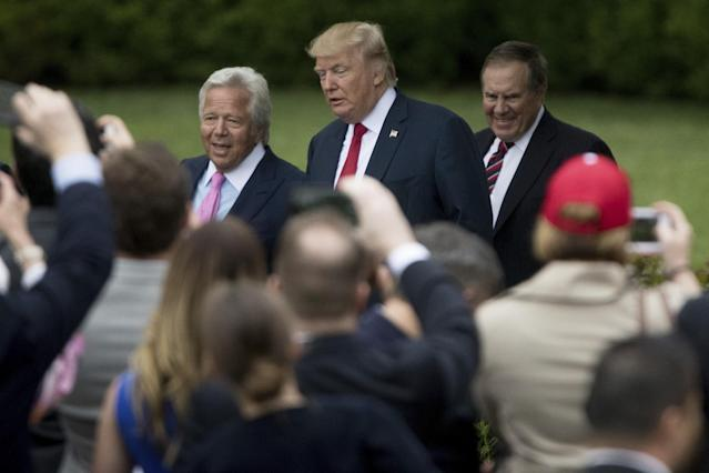 <p>From left, New England Patriots owner Robert Kraft, President Donald Trump, and New England Patriots head coach Bill Belichck arrive on the South Lawn of the White House in Washington, Wednesday, April 19, 2017, for a ceremony where the president honored the Super Bowl Champion New England Patriots for their Super Bowl LI victory. (AP Photo/Andrew Harnik) </p>