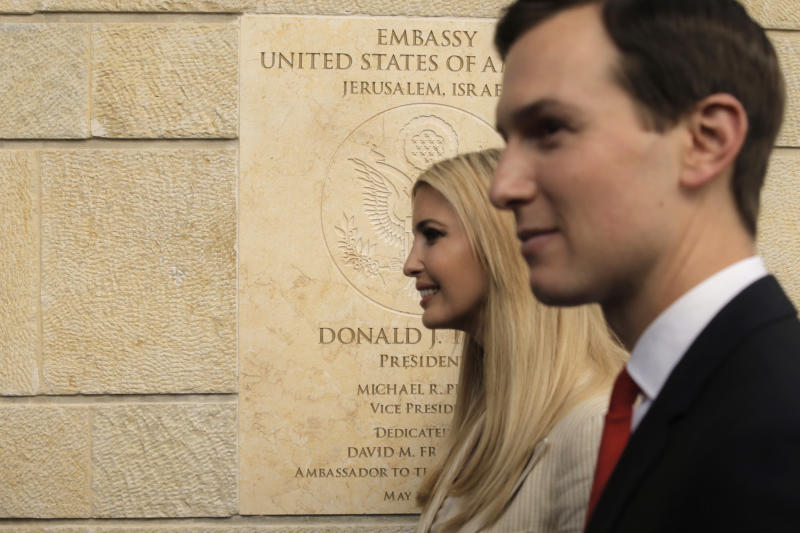 FILE - In this May 14, 2018, file photo, U.S. President Donald Trump's daughter Ivanka, left, and White House senior adviser Jared Kushner attends the opening ceremony of the new U.S. Embassy in Jerusalem. Prime Minister Benjamin Netanyahu has bet heavily on Trump and that strategy has yielded generous dividends. Trump recognized Jerusalem as Israel's capital, and moved the American Embassy to the contested holy city. (AP Photo/Sebastian Scheiner, File)