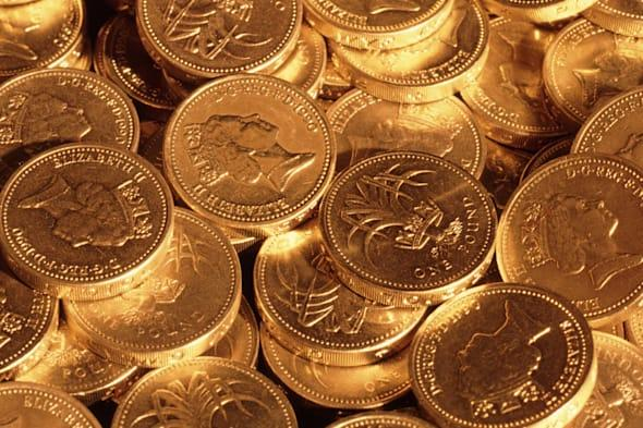 pound sterling coins under...