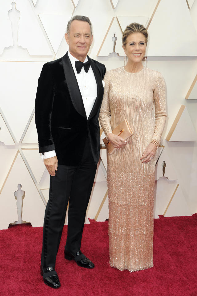 CALIFORNIA, UNITED STATES - FEBRUARY 09 2020: Tom Hanks and Rita Wilson arrive at the 92nd Annual Academy Awards at Hollywood and Highland on February 09, 2020 in Hollywood, California. PHOTOGRAPH BY P. Lehman / Barcroft Media- PHOTOGRAPH BY P. Lehman / Barcroft Media (Photo credit should read P. Lehman/Barcroft Media via Getty Images)