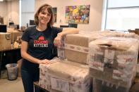 FILE PHOTO: Carly McGinnis, Chief Operating Officer at Exploding Kittens, a Los Angeles-based board game company, poses for a photo at the company's office in Los Angeles