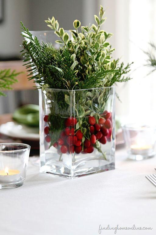 """<p>How easy is this? Fill up a large glass vase with water and some cranberries, then add greens picked from your own backyard for a look that's as seasonally appropriate as it is inviting.</p><p><strong>Get the tutorial at <a href=""""http://findinghomefarms.com/simple-christmas-table-ideas/"""" rel=""""nofollow noopener"""" target=""""_blank"""" data-ylk=""""slk:Finding Home Farms"""" class=""""link rapid-noclick-resp"""">Finding Home Farms</a>.</strong></p><p><strong><a class=""""link rapid-noclick-resp"""" href=""""https://www.amazon.com/STARSIDE-Cylinder-Flowers-Wedding-Decrations/dp/B07J29LHFB/?tag=syn-yahoo-20&ascsubtag=%5Bartid%7C10050.g.644%5Bsrc%7Cyahoo-us"""" rel=""""nofollow noopener"""" target=""""_blank"""" data-ylk=""""slk:SHOP GLASS VASES"""">SHOP GLASS VASES</a><br></strong></p>"""