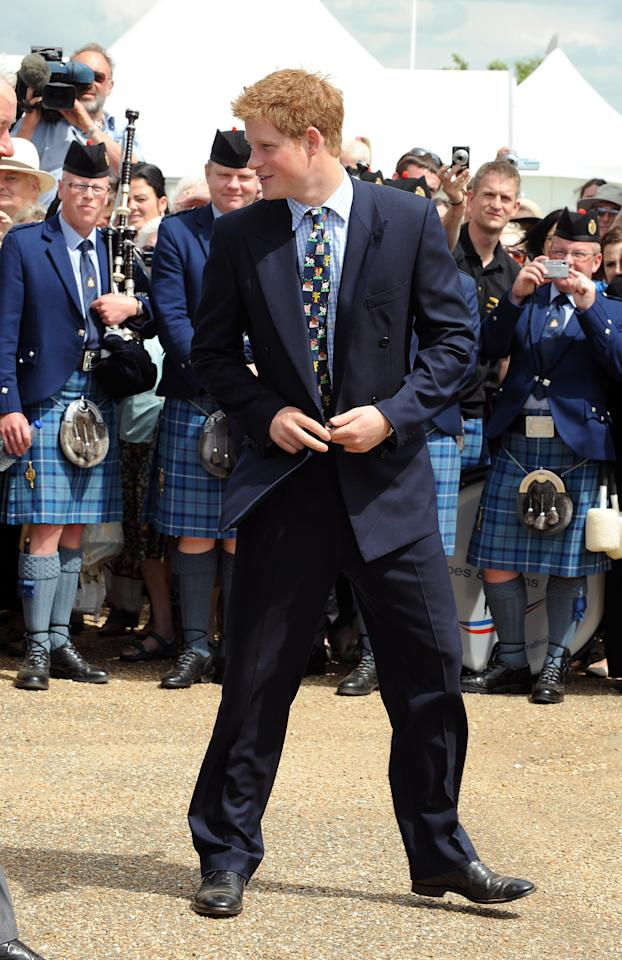 <p>For the Royal Norfolk Show back in 2008, Prince Harry showed his playful side in a patterned tie depicting farmyard animals – clashed against a checked shirt. We can't quite imagine him leaving the Kensington Palace gates in this look anytime soon. <em>[Photo: Getty]</em> </p>