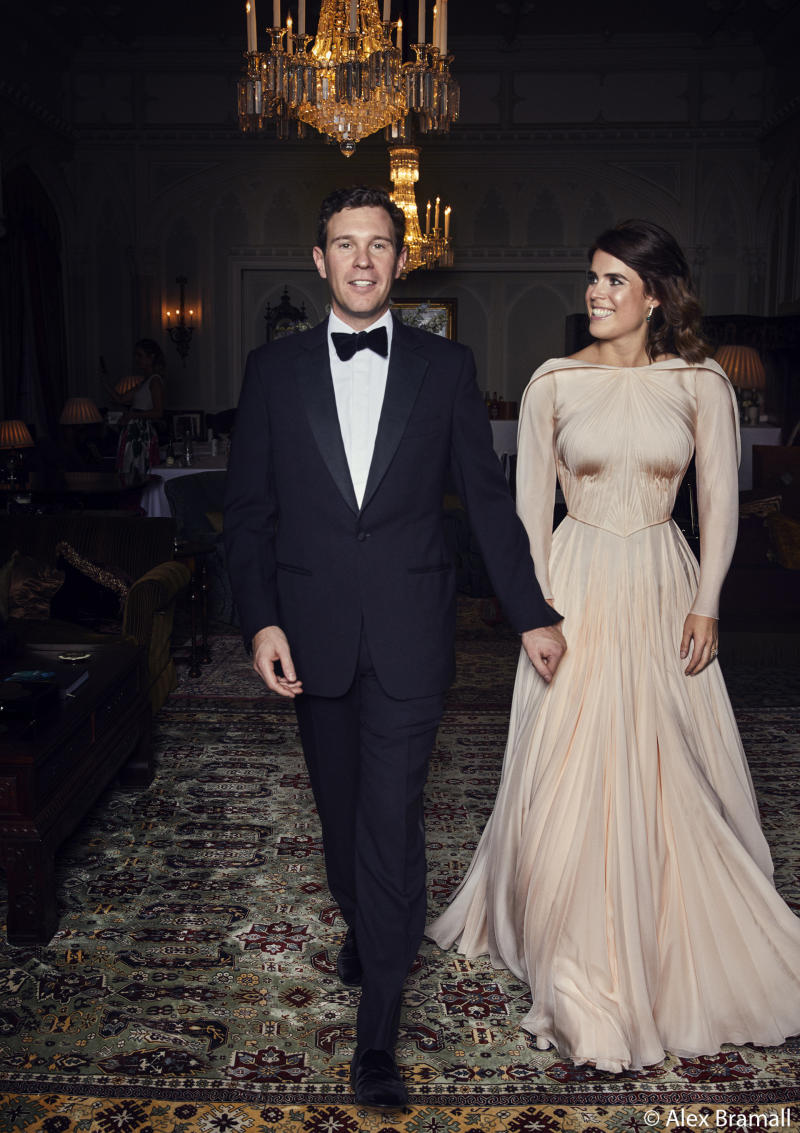 JackBrooksbank and Princess Eugenie of York arrive at the Royal Lodge in Windsor for a dinner the evening of their wedding. (Alex Bramall/Courtesy Buckingham Palace)