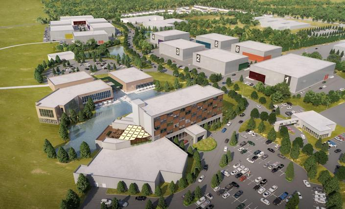 A rendering of the proposal for BLP Film Studios in Whitehaven, with sound stages, an event center, and more.