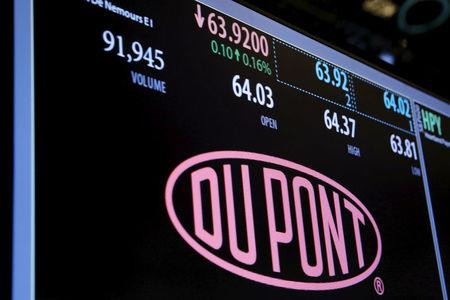FILE PHOTO --  The Dupont logo is displayed on a board above the floor of the New York Stock Exchange shortly after the opening bell in New York