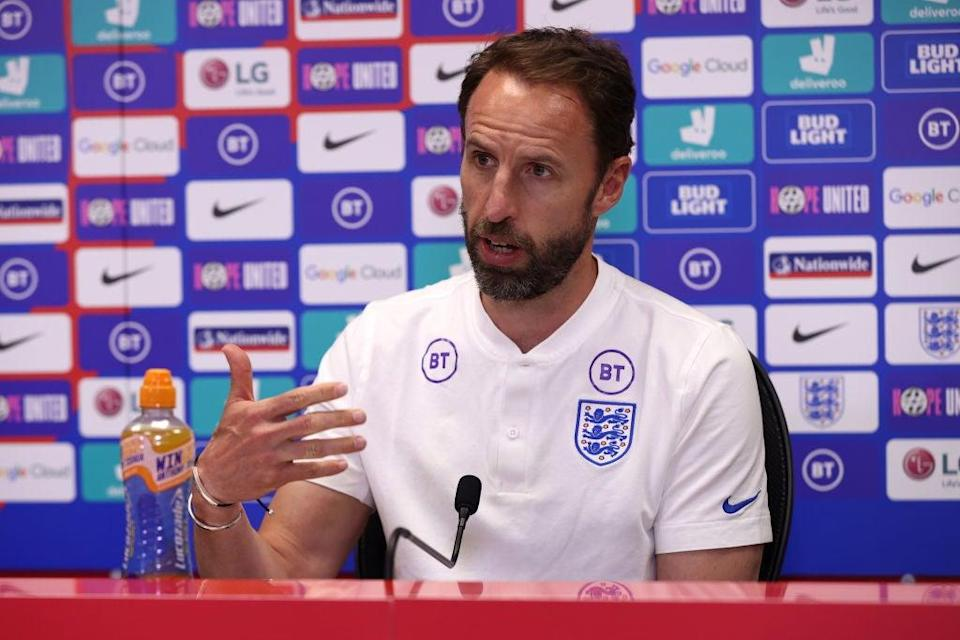 <p>Southgate has shown extraordinary bravery in speaking out on taking the knee</p> (The FA/Getty)