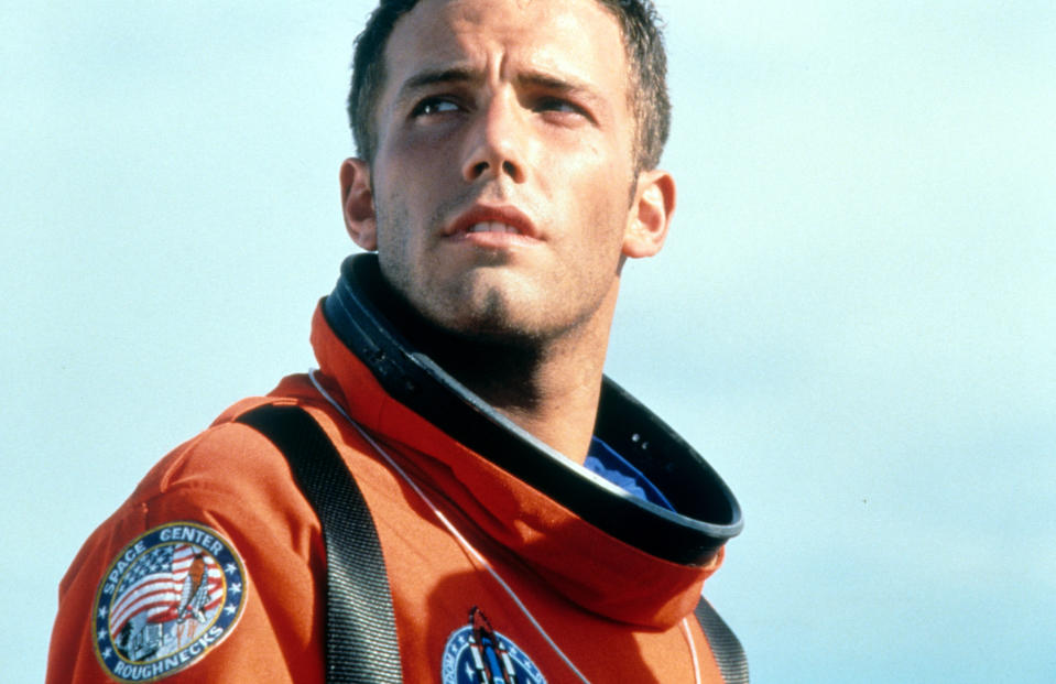 Ben Affleck looking up in a scene from the film 'Armageddon', 1998. (Photo by Touchstone/Getty Images)