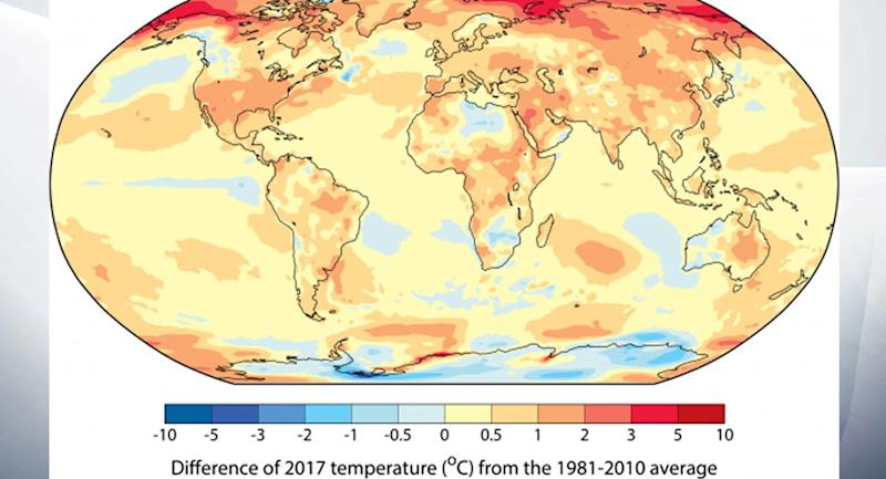 NASA says 2017 second warmest year on record