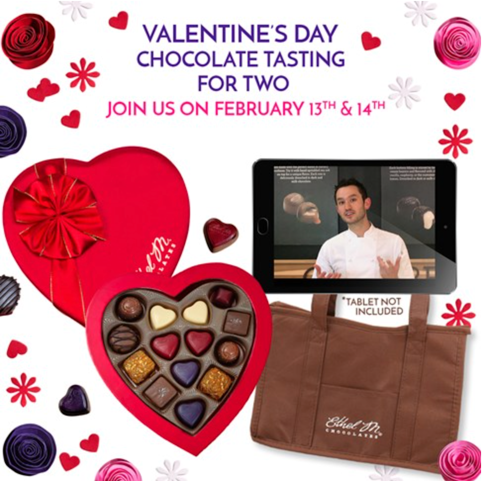 "<h2>Ethel M Chocolates Valentine's Day Virtual Chocolate Tasting For Two </h2><br>This festive gift box comes with chocolate, of course, but it also includes a virtual tasting with Ethel M Chocolates' chief chocolatier, Mark Mackey. It's an entire V-day date all in one heart-shaped box. <br><br><em>Shop</em> <strong><em><a href=""https://www.ethelm.com/"" rel=""nofollow noopener"" target=""_blank"" data-ylk=""slk:Ethel M Chocolates"" class=""link rapid-noclick-resp"">Ethel M Chocolates</a></em></strong> <br><br><strong>Ethel M Chocolates</strong> Valentine's Day Virtual Chocolate Tasting for Two, $, available at <a href=""https://go.skimresources.com/?id=30283X879131&url=https%3A%2F%2Fwww.ethelm.com%2Fvalentine-s-day-virtual-chocolate-tasting-for-two%2Fp%2Fvir150738"" rel=""nofollow noopener"" target=""_blank"" data-ylk=""slk:Ethel M Chocolates"" class=""link rapid-noclick-resp"">Ethel M Chocolates</a>"