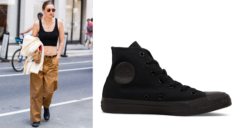 Gigi Hadid in Converse Chuck Taylor All Star High Tops (Photo: Getty/Little Burgundy Shoes)