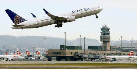 FILE PHOTO: United Airlines Boeing 767-322 (ER) aircraft takes off from Zurich Airport