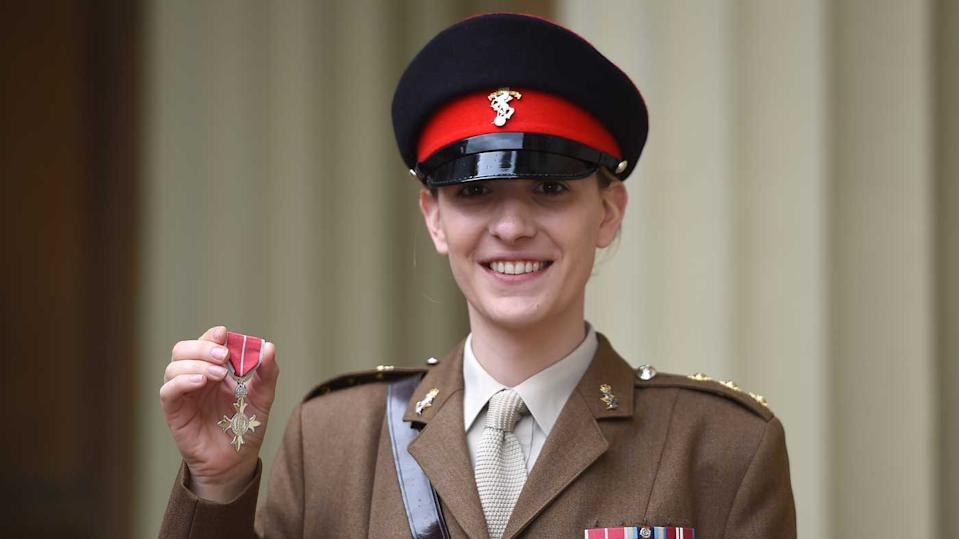 Captain Hannah Graf receives her MBE at Buckingham Palace in June 2019