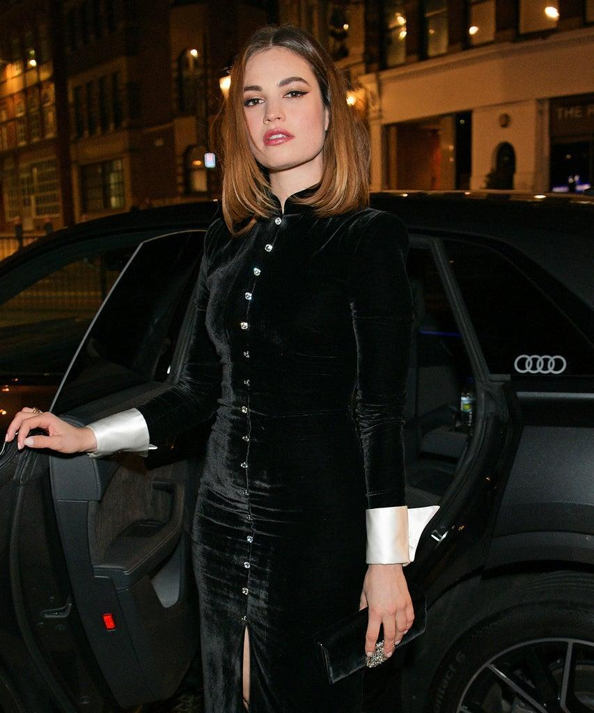LONDON, ENGLAND – DECEMBER 01: Lily James arrives in an Audi at the British Independent Film Awards at Old Billingsgate on December 01, 2019 in London, England. (Photo by David M. Benett/Dave Benett/Getty Images for Audi UK)