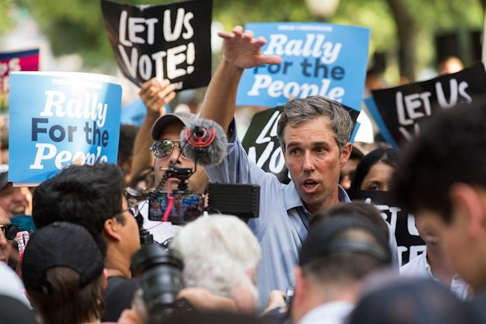 """Beto O'Rourke speaks to the press following the voting rights rally """"For the People: The Texas Drive For Democracy"""" at the Texas Capitol on Sunday, June 20, 2020."""