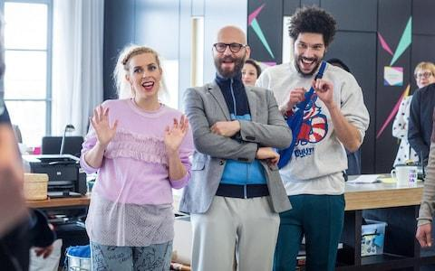<span>Sara Pascoe, Alex Beckett and Joel Fry</span> <span>Credit: BBC </span>
