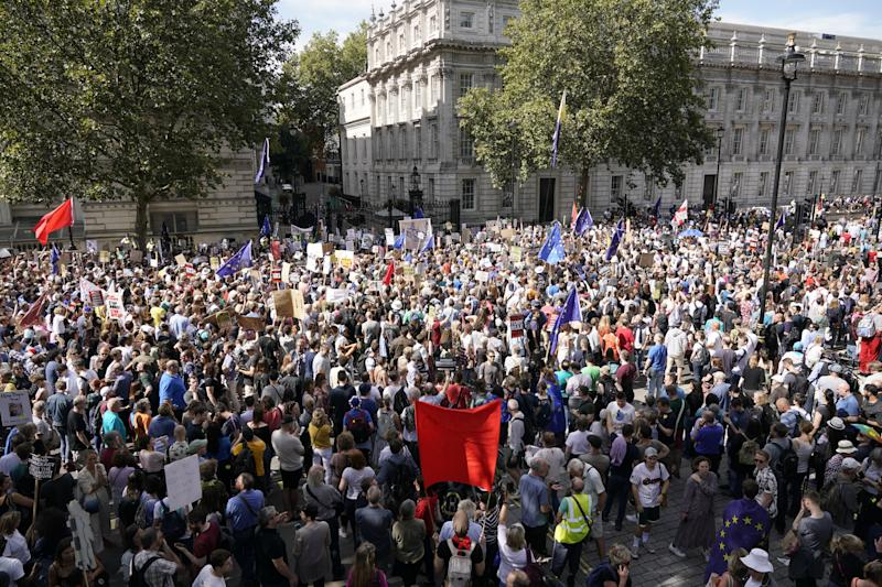 "LONDON, ENGLAND - AUGUST 31: Anti-Brexit demonstrators protest in Whitehall on August 31, 2019 in London, England. Left-wing group Momentum and the People's Assembly are coordinating a series of ""Stop The Coup"" protests across the UK aimed at Boris Johnson and the UK government proroguing Parliament. (Photo by Chris Furlong/Getty Images)"