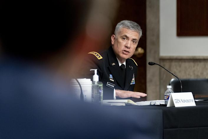 Gen. Paul Nakasone, director of the National Security Agency and commander of U.S. Cyber Command, speaks during a Senate Armed Services Committee hearing. (Andrew Harnik/AP/Bloomberg via Getty Images)