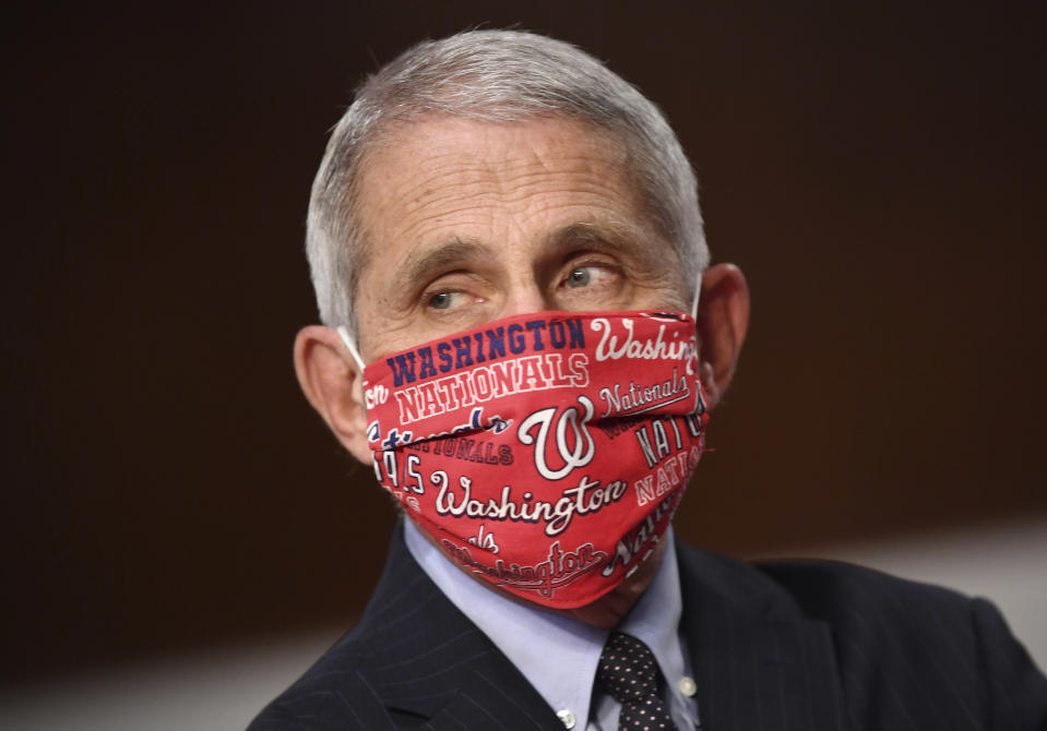"The Nationals called Dr. Anthony Fauci ""a true champion for our country."" (Kevin Dietsch/Pool via AP)"