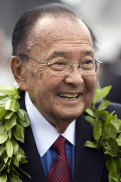 FILE - In this Friday, July 9, 2010 file photo, U.S. Sen. Daniel Inouye, D-Hawaii, is seen at the ceremony welcoming F-22 Raptor fighter jets to Joint Base Pearl Harbor-Hickham in Honolulu. Inouye has died of respiratory complications, Monday, Dec. 17, 2012, according to Inouye's office. He was 88. (AP Photo/Marco Garcia, File)