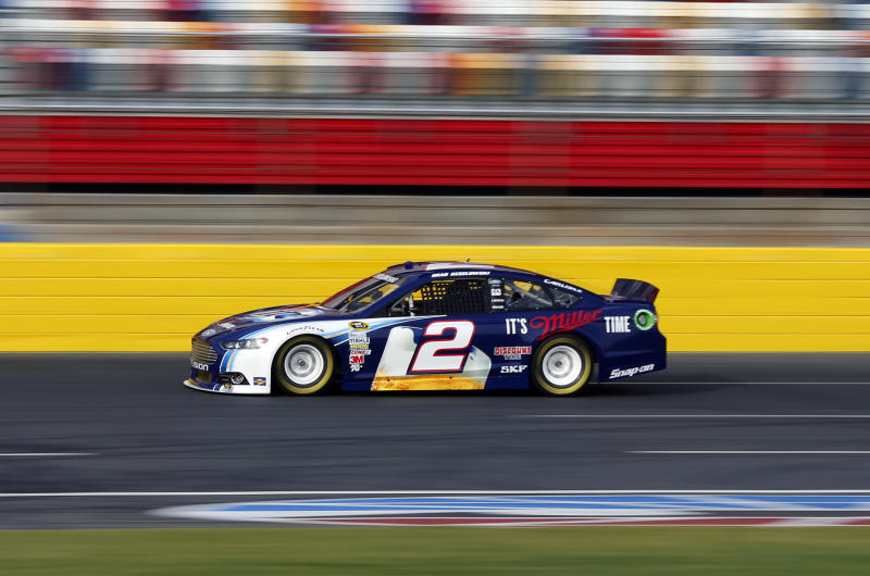 Brad Keselowski drives his car during testing for the NASCAR Sprint Cup auto racing series at Charlotte Motor Speedway in Concord, N.C., Tuesday, Dec. 11, 2012. (AP Photo/Chuck Burton)