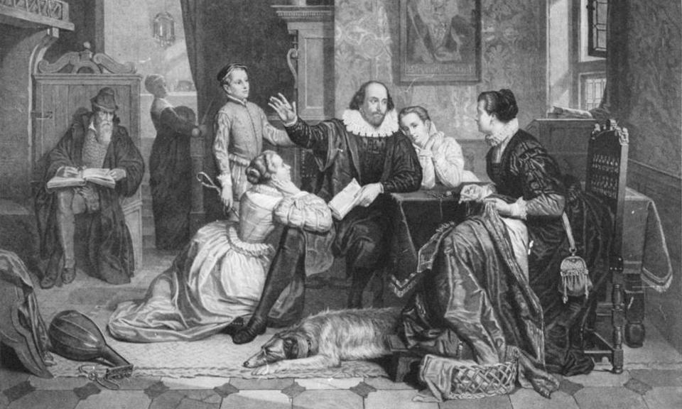 Eternal youth … 1890 German illustration imagining Shakespeare reciting Hamlet to his family in Stratford.