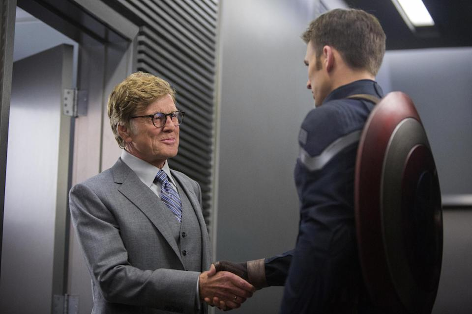 """This image released by Marvel shows Robert Redford, left, and Chris Evans in a scene from """"Captain America: The Winter Soldier."""" (AP Photo/Marvel-Disney)"""