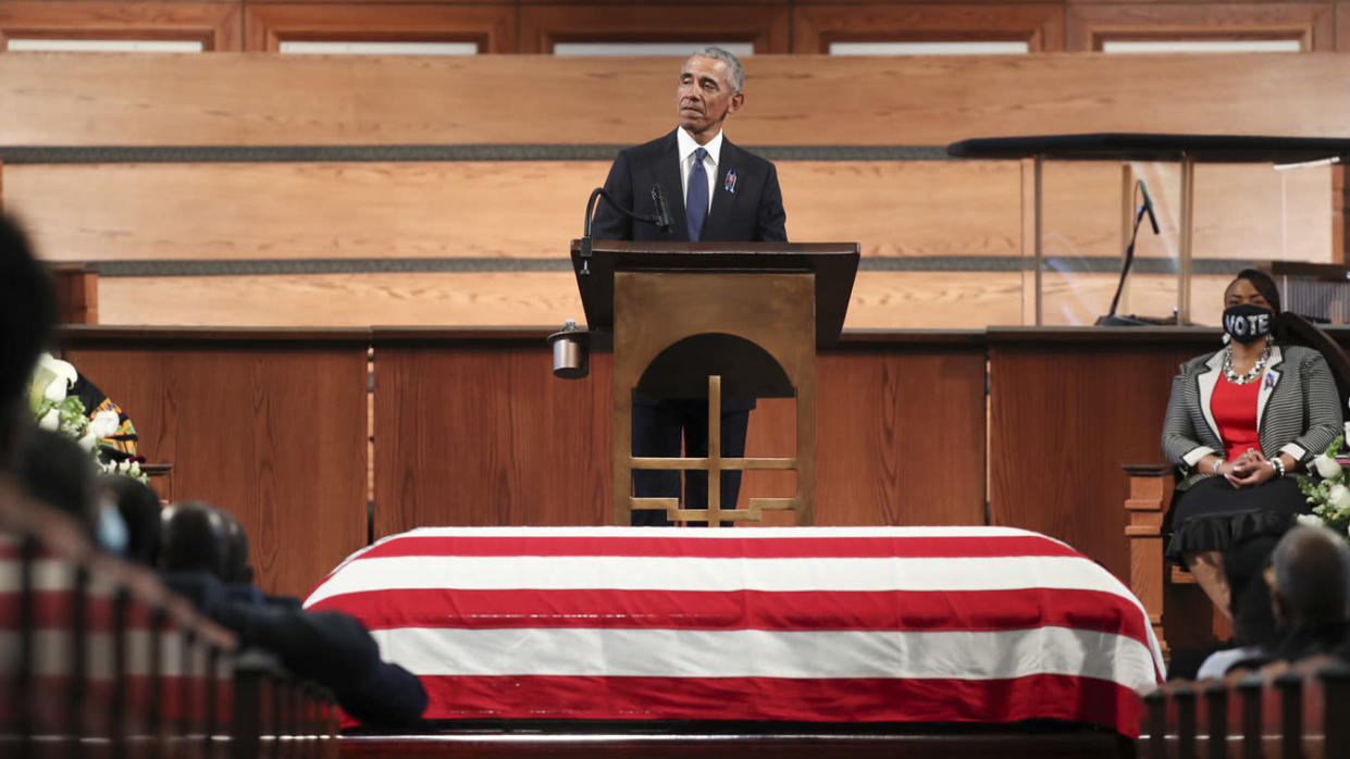 Former President Barack Obama gives the eulogy at the funeral service for the late Rep. John Lewis (D-GA) at Ebenezer Baptist Church on July 30, 2020 in Atlanta, Georgia. (Alyssa Pointer-Pool/Getty Images)