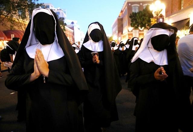 <p>Cosplayers dressed as nuns at Comic-Con International on July 19, 2018, in San Diego. (Photo: Mario Tama/Getty Images) </p>