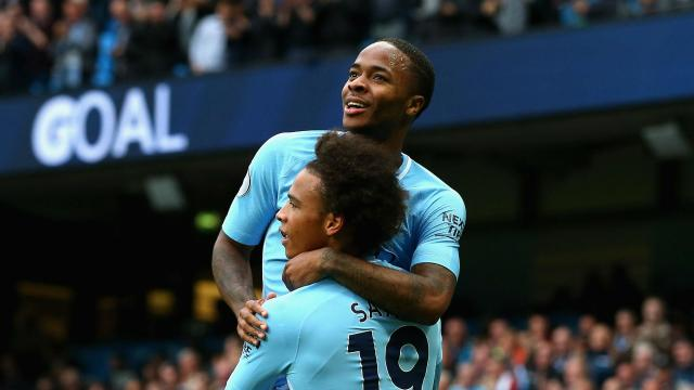 Raheem Sterling's second-half brace and goals from Leroy Sane, Sergio Aguero and Fabian Delph gave Manchester City their latest big win.