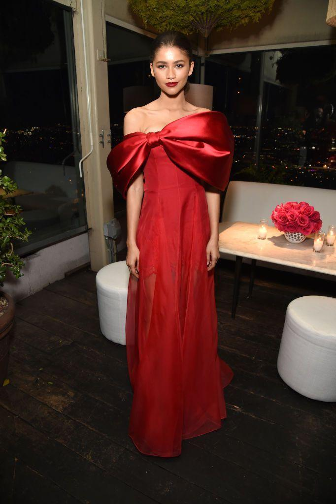 <p>The Euphoria star wore a red Alexis Mabille gown. </p>