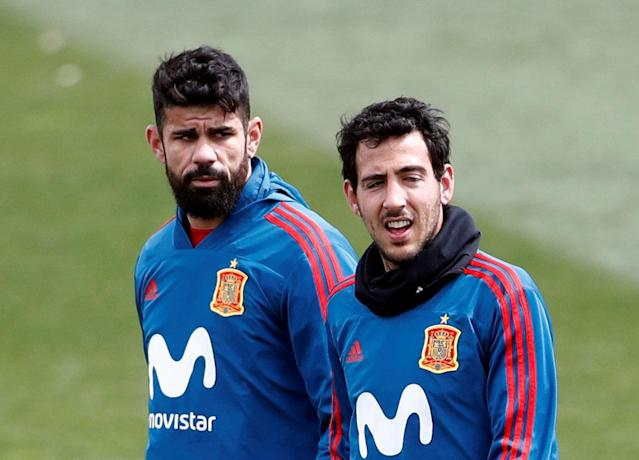 Soccer Football - Spain Training - Las Rozas, Spain - March 24, 2018 Spain's Diego Costa and Daniel Parejo during training REUTERS/Juan Medina
