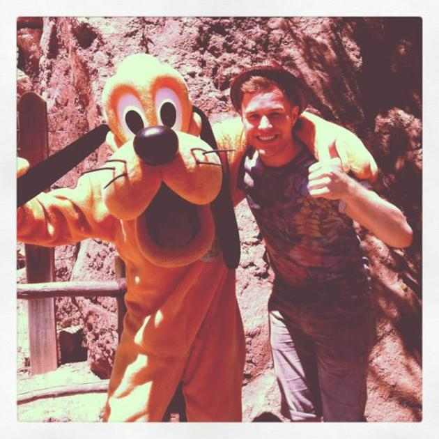 "Celebrity quotes: Olly Murs is currently in America supporting One Direction on tour. In between performances, he found some time to make a trip to Disneyland where he hung out with some of the characters. He tweeted this snap, along with the caption: ""Aw me and my NEW Best Mate!!!"""