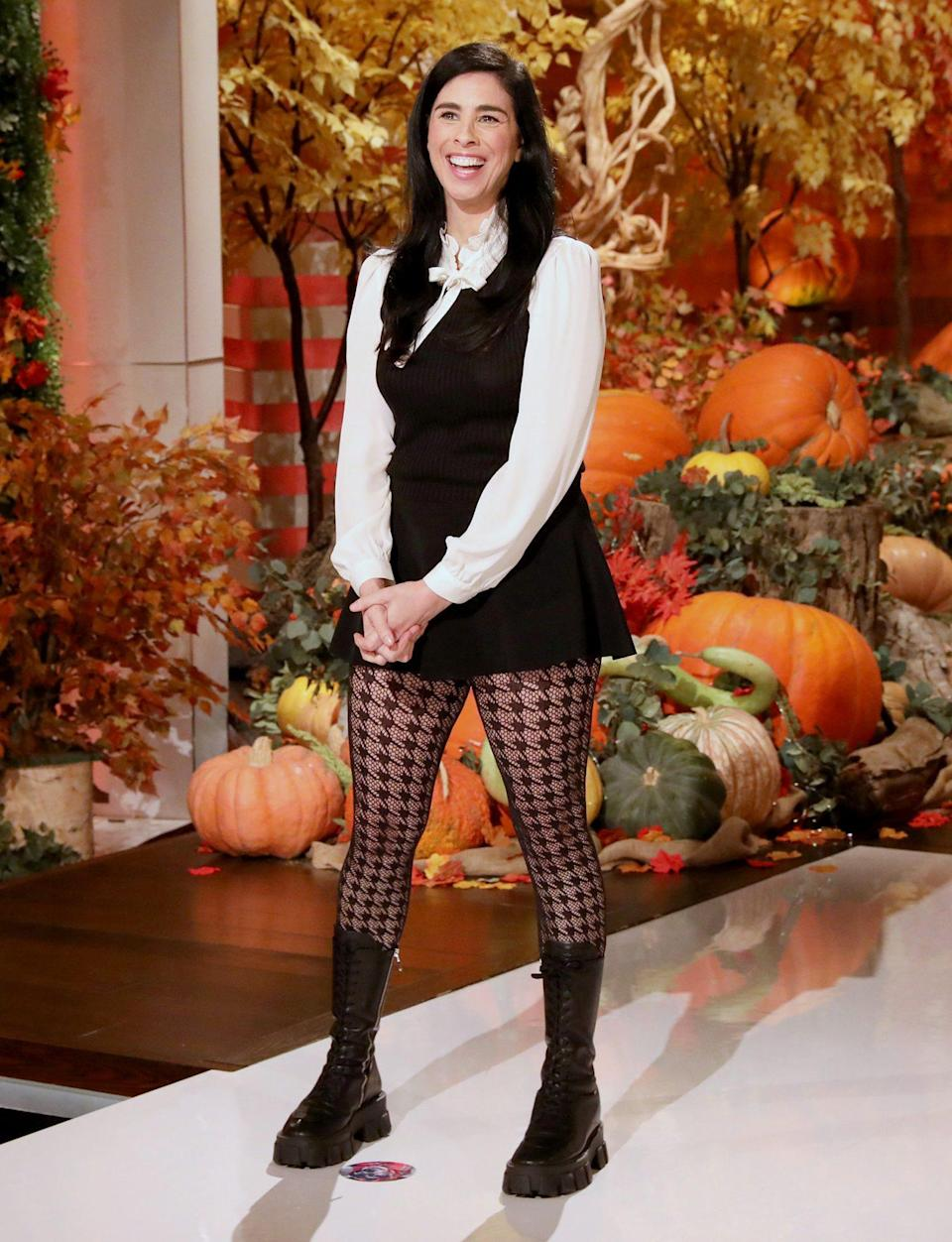 <p>Sarah Silverman fills in as guest host on Monday's episode of <i>The Ellen DeGeneres Show</i> in Burbank, California. </p>