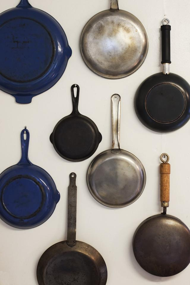 """<p>Cast-iron skillets can be <a href=""""https://www.popsugar.com/food/Easiest-Way-Clean-Cast-Iron-Pan-43350768"""" class=""""ga-track"""" data-ga-category=""""Related"""" data-ga-label=""""https://www.popsugar.com/food/Easiest-Way-Clean-Cast-Iron-Pan-43350768"""" data-ga-action=""""In-Line Links"""">difficult to tackle.</a> <a href=""""http://www.thekitchn.com/how-to-clean-a-cast-iron-skillet-cleaning-lessons-from-the-kitchn-107747#_"""" target=""""_blank"""" class=""""ga-track"""" data-ga-category=""""Related"""" data-ga-label=""""http://www.thekitchn.com/how-to-clean-a-cast-iron-skillet-cleaning-lessons-from-the-kitchn-107747#_"""" data-ga-action=""""In-Line Links"""">Clean them</a> with some vegetable oil and salt!</p>"""