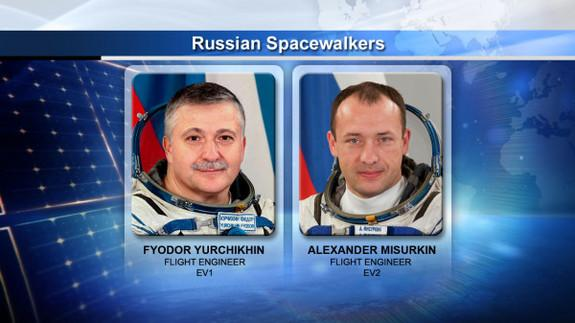 Russian cosmonauts Fyodor Yurchikhin and Alexander Misurkin will spend six hours working outside the International Space Station during a spacewalk on June 24, 2013.