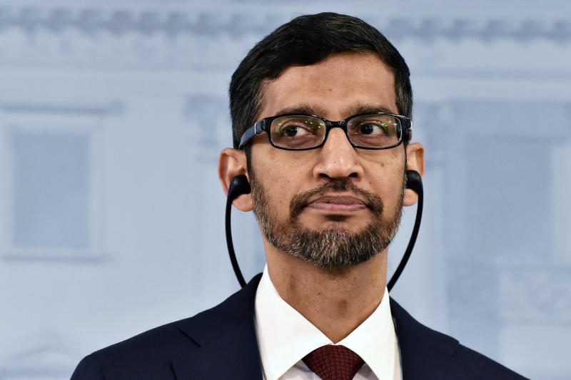 Google CEO Sundar Pichai attends a joint press conference with Prime Minister of Finland Antti Rinne in Helsinki, Finland, Friday Sept. 20, 2019. (Jussi Nukari/Lehtikuva via AP)