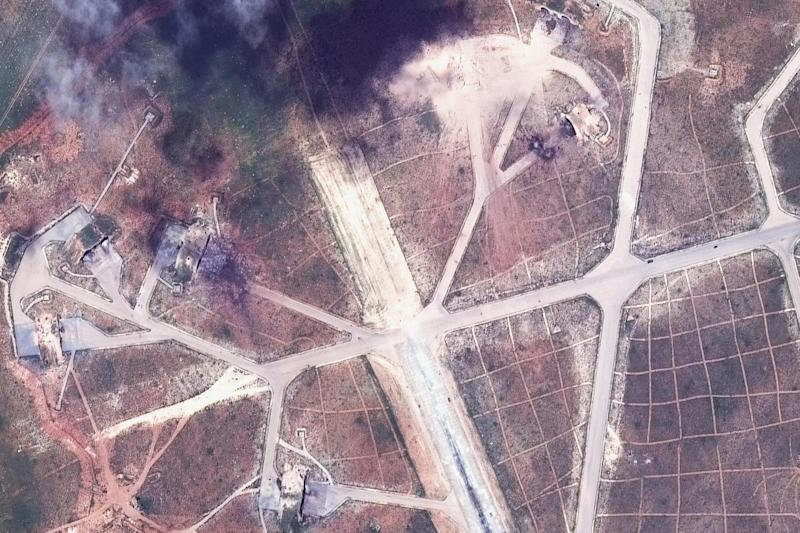 A satellite image shows the aftermath of US strikes in Syria: AP