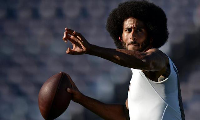 """<span class=""""element-image__caption"""">Colin Kaepernick is still a free agent after opting out of his contract with San Francisco.</span> <span class=""""element-image__credit"""">Photograph: Jake Roth/Reuters</span>"""
