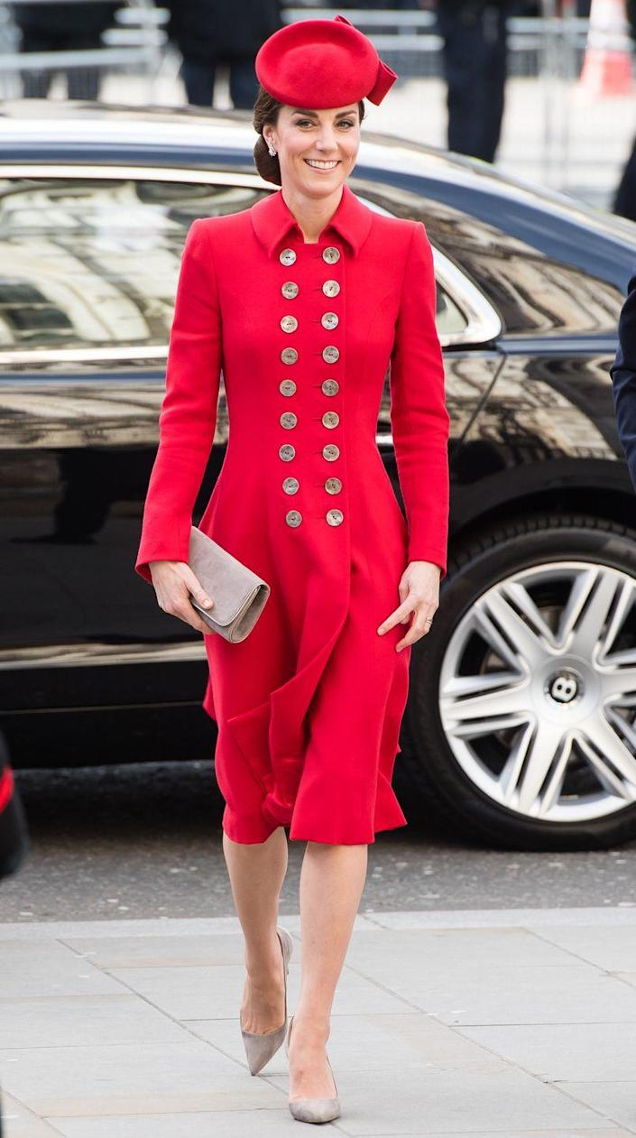 <p>Ever a fan of the coat dress, Kate sported this cerise version with a matching hat for the Commonwealth Day service on March 11, 2019 in London.</p>