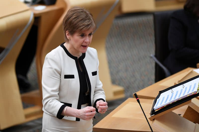 FILE PHOTO: Scotland's First Minister Nicola Sturgeon, attends the First Minister's Questions at the Scottish Parliament in Holyrood, Edinburgh