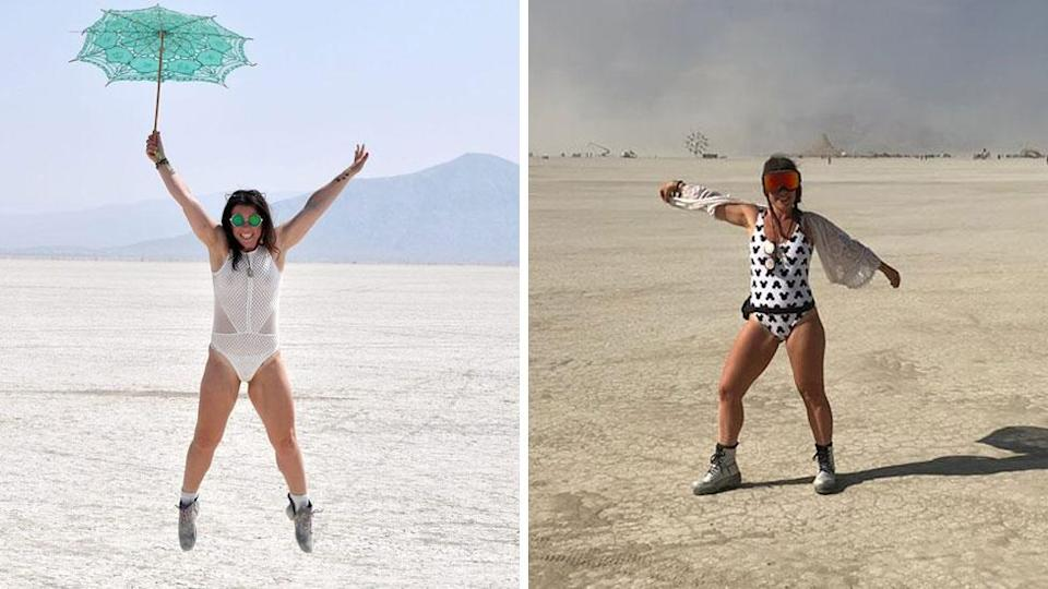 This is me, being positively unsexy at Burning Man, over the last two years and definitely not flashing my bits. Soz guys. Source: Rebekah Scanlan