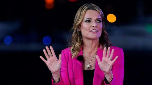 PHOTO: Moderator Savannah Guthrie speaks during an NBC News Town Hall with President Donald Trump at Perez Art Museum, Oct. 15, 2020, in Miami. (Evan Vucci/AP)